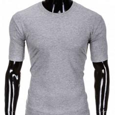 Tricou pentru barbati gri deschis simplu slim fit mulat pe corp bumbac S620