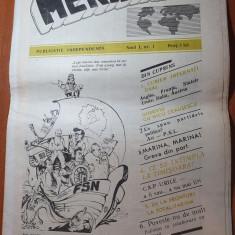 ziarul meridiane anul 1,nr.1 din  1990-prima aparitie-interviu nicu ceausescu