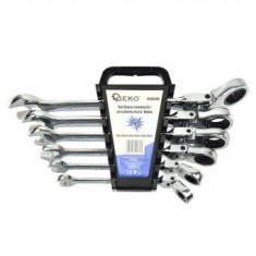 Set chei combinate cu clichet si cap flexibil Geko G10339, 8-19 mm, Cr-V