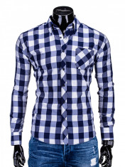 Camasa pentru barbati, bleumarin, in carouri mari, slim fit, casual, elastica, cu guler, buzunar piept - k282 foto