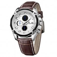 Ceas de mana barbatesc, Quartz, cronograf, 4.2 cm, curea piele, Megir