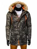 Geaca pentru barbati, de iarna, camuflaj, stil militar, army, impermeabila, fermoar, model slim, buzunare laterale - c300, XXL