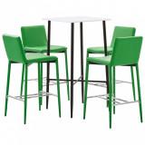 Set mobilier de bar, 5 piese, verde, piele ecologică