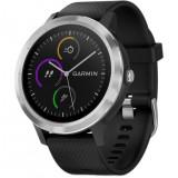 Ceas Smartwatch vivoactive 3, GPS, Argintiu, curea silicon neagra