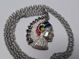 MEDALION argint INDIAN APACHE in EMAIL contrast SUPERB splendid pe Lant argint