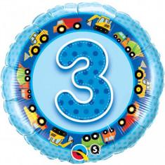 Balon bleu 3 ani din folie Camioane 43cm