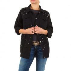 Jacheta din denim, de culoare neagra, cu margelute decorative - Noemi Kent