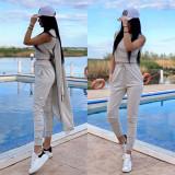 Compleu dama ieftin gri compus din pantaloni lungi + maieu + cardigan lung