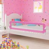 Balustradă de protecție pat copii, roz, 180x42 cm, poliester, vidaXL