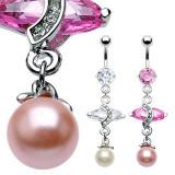 Cumpara ieftin Piercing de lux pentru buric, cu un zircon oval mare și o perlă - Culoare zirconiu piercing: Roz - P