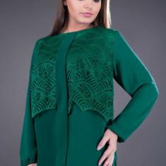 Bluza dama din dantela si voal Ofelia verde, 48, 50