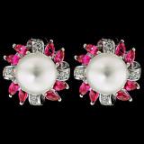 Cercei din Argint 925 cu Perle Naturale si Diamante, Mistique