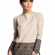 Bluza moderna, bej cu dantela, 2XL, L, M, S, XL