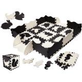 Covor puzzle cu laterale 25 piese Ikonka IK17566 Negru/Gri/Bej