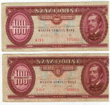 Bancnote Ungaria - 100 Forinti -doua variante -1989 , 1995