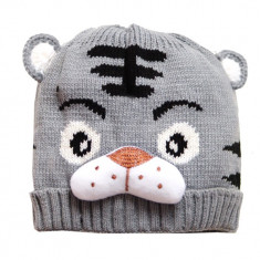 Caciula gri tricotata model tigru, 1-2 ani, 12-18 luni, 2-3 ani