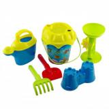 Set galetusa cu accesorii pentru nisip, model pesti, 7 piese
