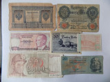 Lot 7 bancnote vechi: Rusia, Iugoslavia, Turcia, Germania, Austria, Cehoslovacia