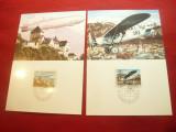 Set 2 Maxime cu seria Europa -Ziua Postei - Avion si Zepelin 1979 Liechtenstein