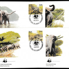 Sri Lanka - Fauna WWF - ELEFANTI - 4 FDC - Michel 60 Eur. - serie
