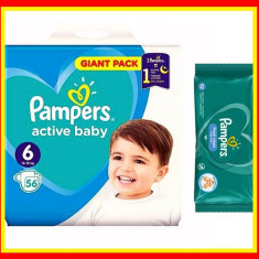 Pampers Scutece Nr 6 Active Baby Giant Pack, 13-18 kg, 56 Buc + Servetele Umede