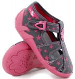 Sandale fete cu floricel si stelute (cu catarama) din material textil
