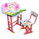 Set birou si scaunel reglabile MDF si metal roz