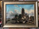 12 Port Olandez, tablou cu peisaj, reproducere celebra  tablou marin  73x96 cm