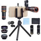 Cumpara ieftin Set 4 in 1 lentile profesionale smartphone Apexel APL-HS12XDG3ZJ, prindere filet 17mm, Obiectiv zoom 12x, Fisheye, Macro, Wide, Mini trepied pentru te