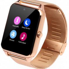 Ceas Smartwatch cu Telefon iUni Z60, Curea Metalica, Touchscreen, BT, Camera, Notificari, Gold