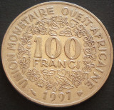 Moneda EXOTICA 100 FRANCI - AFRICA de VEST, anul 1997   *cod 3881