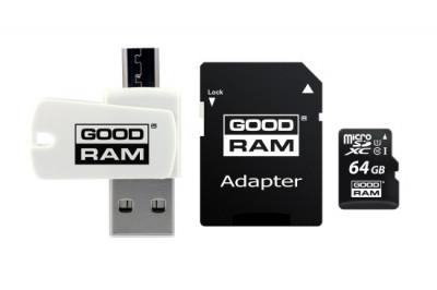 Card de Memorie MicroSD GoodRam 64 GB Clasa 10 Viteza citire 100MBs Cititor Card MicroUSB Adaptor SD foto