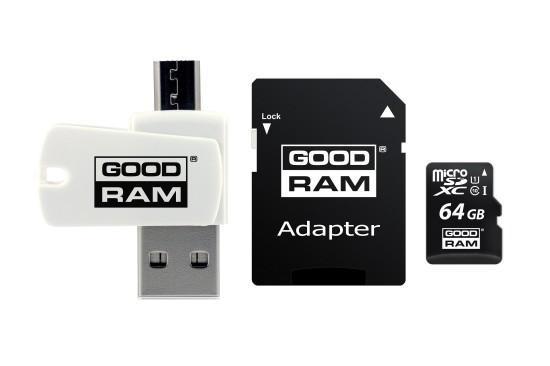 Card de Memorie MicroSD GoodRam 64 GB Clasa 10 Viteza citire 100MBs Cititor Card MicroUSB Adaptor SD
