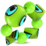 Brățară elastică - bile verzi, bile de sticlă, ochi căprui turcoaz