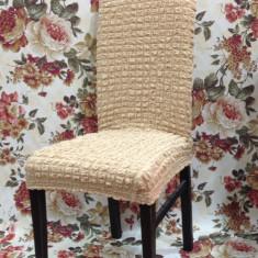 Set 6 huse scaune - creponate si elastice (fara volanase) culoare Bej Natur
