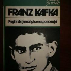 Franz Kafka, pagini de jurnal si corespondenta