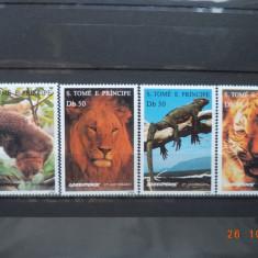 1996 Sao Tome si Principe Mi 1676 - 1679  Fauna**  Serie completa ( Greenpeace )