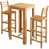 Set masă și scaune de bar, 3 piese, lemn masiv de acacia, vidaXL