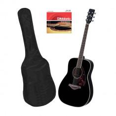 Set chitara clasica din lemn 95 cm negru clasic husa nylon si corzi acustice