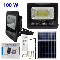 Proiector LED 100W Panou solar, telecomanda, senzor lumina