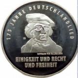 Moneda jubiliara GERMANIA - 20 euro 2016 - 175 ani imnul german - UNC, Europa, Argint