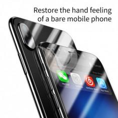 Protection, baseus, glass film set, front + back, iphone x, black