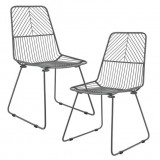 "Scaun metalic design ""Sofia"" (set doua bucati) - scaun bucatarie - gri inchis"