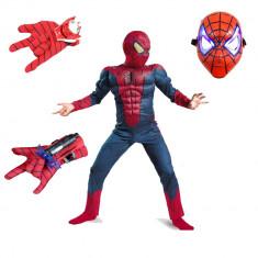 Set costum Spiderman cu muschi, pentru 7-9 ani, 2 lansatoare si masca plastic LED, rosu