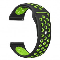 Curea silicon compatibila Huawei Watch GT, telescoape Quick Release, 22mm, Negru/Verde