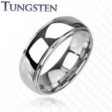 Inel din tungsten cu centru proeminent, luciu de oglindă, 8 mm - Marime inel: 62