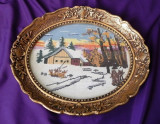 Goblen vechi oval Peisaj de iarna inramat rama deosebita 29x23 cm