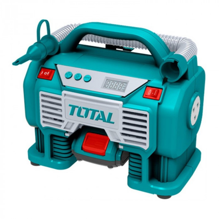 Compresor aer Total, 11 bari, 20 V, 3 x LED, stop automat, display digital, alimentare acumulator Li-Ion