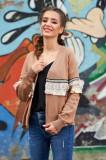 Cardigan SunShine maro casual tricotat cu croi larg cu maneci lungi cu aplicatii cu paiete, Bloom