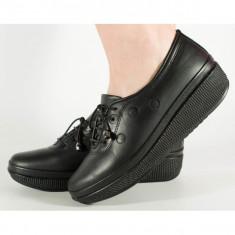 Pantofi negri talpa convexa piele naturala (cod 605033)